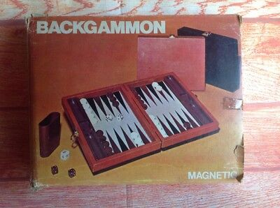 ATTACHE CHESS AND BACKGAMMON SET IN Small ATTACHE CASE Boxed BOARD GAME Vintage