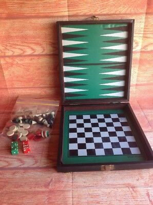 ATTACHE CASE SET BACKGAMMON CHESS DOMINOS CHECKERS DRAUGHTS Travel Case Set