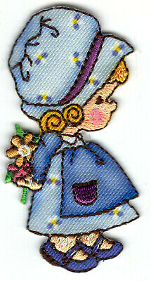 Little Girl with Flowers and Bonnet Applique Patch Iron on