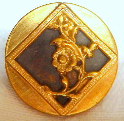 ANTIQUE VICTORIAN GILT BRASS BUTTON w/CENTER WINDOW & BEAUTIFUL FLOWER VINE