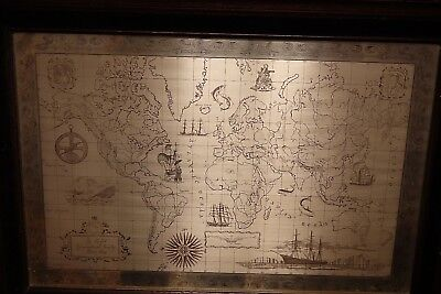 Large Hallmarked Silver Map Mounted In Frame - L@@k
