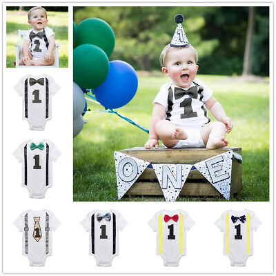 US Baby Boys 1st First Birthday Romper Bodysuit Jumpsuit Party Outfit Cake Smash
