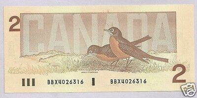 1986 UNC Canada 2 $ Bill  Prefix Thiessen/Crow BBX 4026316 Replacement 55bA