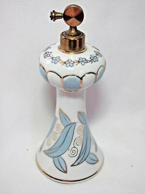 Vintage Tall Art Deco Irice Hand Painted Atomizer Perfume Blue White Gold Japan