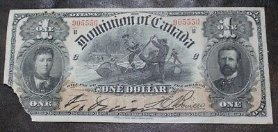 1898 DOMINION OF CANADA DC-13c $1 ONE DOLLAR BANKNOTE