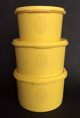 Vintage Retro Tupperware Yellow Servalier Cannisters x 3