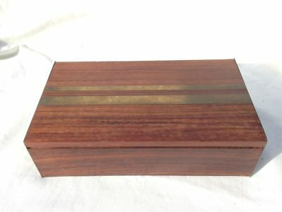 Vintage Antique Wood Box w/ Unique Brass Plated Sides and Striped Inlay