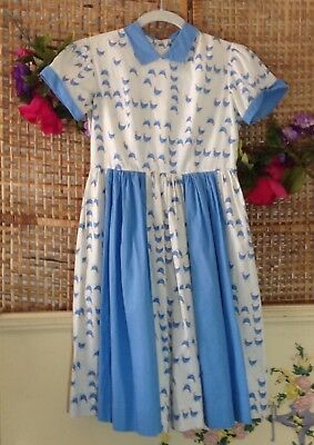 Vtg 50's Country Farm Kate Greenway Frock Girls Cotton Dress Rooster Print Sz 10