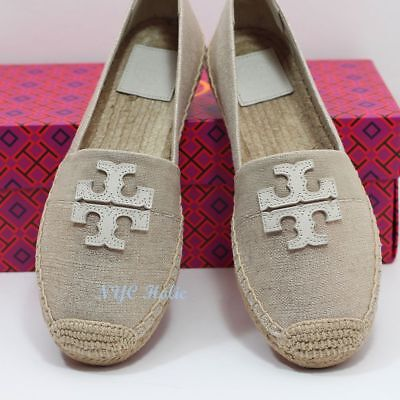 15628a22c NEW TORY BURCH Shoes Weston Flat Espadrille Canvas Leather New Ivory ...