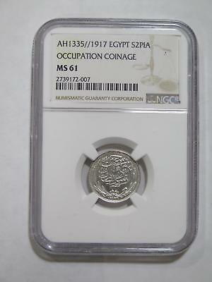 Egypt Ah1335 1917H 2 Piastres Occupation Ngc Ms61 Old World Coin Collection Lot