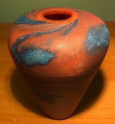 Hand Blown Multicolored Studio Art Glass Vase