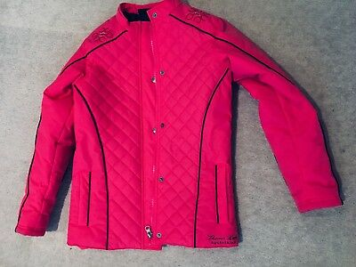 NWOT Girls Thomas Cook Quilted Equestrian Coat Bright Pink Navy Pattern Size 10