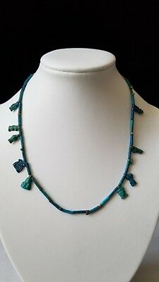 Antique Ancient Egyptian Paste Blue Faience 14k Gold Necklace