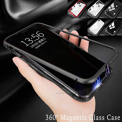 Magnetic Adsorption Metal Case For iPhone X 8+ Luxury Tempered Glass Cover Paket