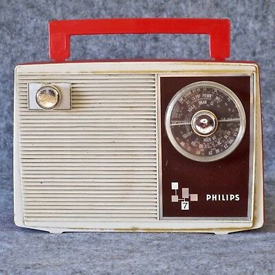 Philips RC290 Transistor Radio 9V in Red & Cream, in Working Order, c.1969