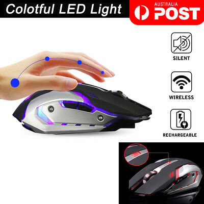 New 2.4GHz Wireless Rechargeable USB Optical Ergonomic LED Light Gaming Mouse AU