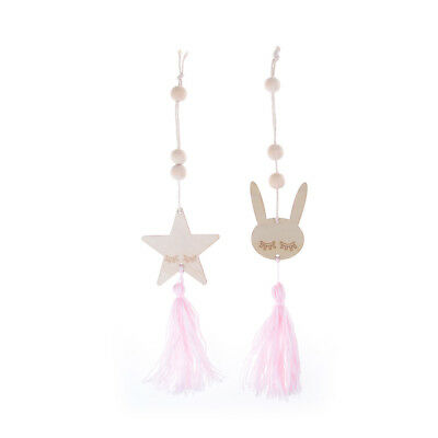 Cute Wooden Beads Tassel Pendant Star Rabbit Pendant Kids Room Decor Gift M&O
