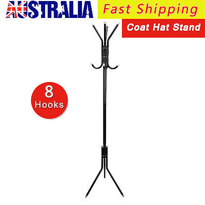 8 Hook Coat Hanger Stand Black Metal Tree Style Hat Bag Rack Umbrella Hanger