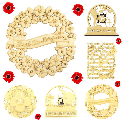 Wooden-MDF-Remembrance-Lest-We-Forget-Poppy-Wreath-Sign-Quote-Soldier-Army-Dad