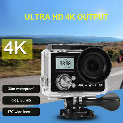"16MP Ultra HD 4K Dual Screen WiFi Sport Camera 2"" LCD Action 30M Waterproof"