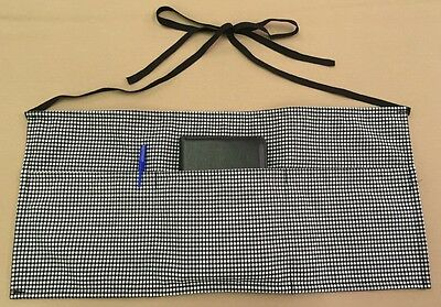 Waiter Waitress Houndstooth Checkered Black/White Waist Apron, 100% Made In USA