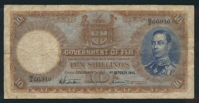 Fiji: 1-10-1940 10 Shillings George VI Portrait. Pick 38d, Cat VF $333