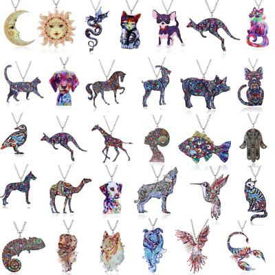 Colorful Printing Flower Animal Cat Dog Horse Sun Moon Pendant Necklace Gift Hot