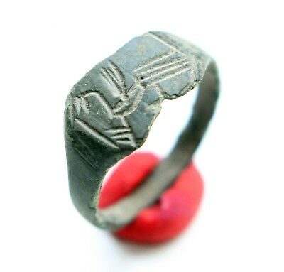 Ancient Old Medieval Bronze Ring With Mythical Bird Image (MAY17)