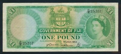 "Fiji: 1-7-1954 ""SCARCE FIRST DATE"" £1 QEII Portrait. Pick 53a Cat UNC $1100"