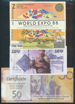 "Australia: 1972-2014 COLLECTION OF 8 DIFF ""FUNNY MONEY"" incl Political & Expo 88"