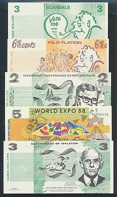 "Australia: 1972-88 COLLECTION OF 5 DIFF ""FUNNY MONEY"" incl Political & Expo 88"