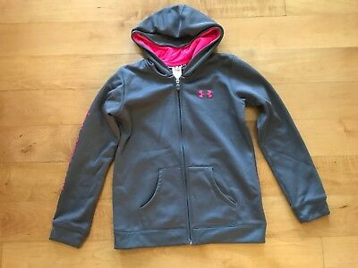 UNDER ARMOUR....Girl's Zip Front HOODIE. Sz. YMD. Gray w/ Bright Pink. Pocket.