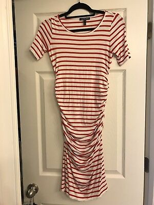 Isabella Oliver Red & White Striped Maternity And Beyond Dress -size 0