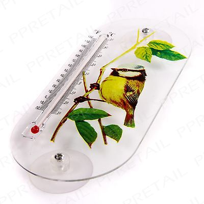 Decorative Bird Window Thermometer W/ Suction Cups Outdoor/Indoor Garden/Home