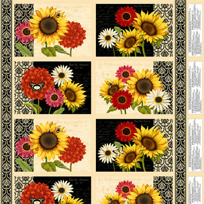 """Sunset Blooms cotton quilt fabric Panel by Wilmington Sunflower Placemats 11x16"""""""