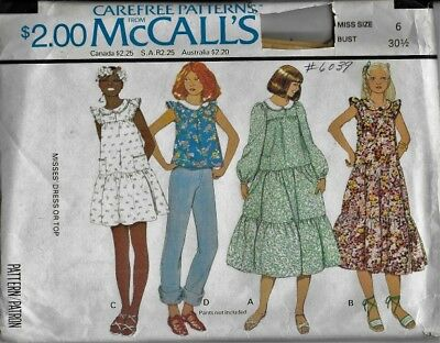 VTG 70's McCall's Sewing Pattern 6039 Misses' DRESS w/ Tiered Ruffles or TOP