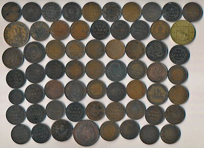 62 Old Canada Large Cents & Copper Tokens + 1 Medal (Must See)  No Reserve