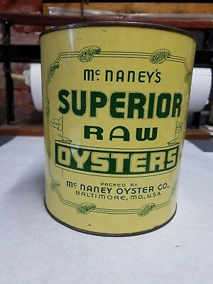 OYSTER TIN/CAN. Mc. NANEY'S SUPERIOR RAW OYSTERS. BALTIMORE, MD. MD14