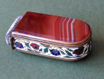 Rare Late 19th Century Brass Mounted Agate Vesta Case withChampleve Enamel Sides
