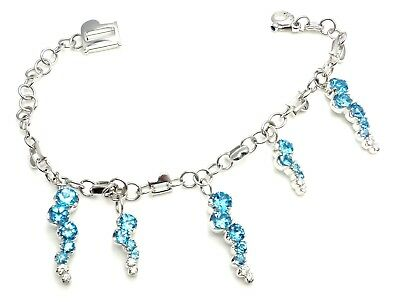 New! Authentic Pasquale Bruni SUN RAY 18k White Gold Diamond Blue Topaz Bracelet