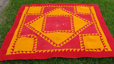 """Graphically spectacular ca 1900 all hand quilted quilt, 73"""" x 68"""", as is  *"""