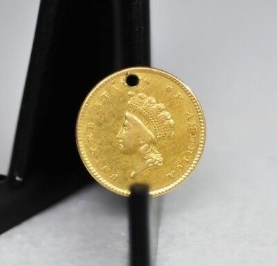 1854 $1 Gold Type 2 Indian Head Princess Coin - Holed [05DUD]