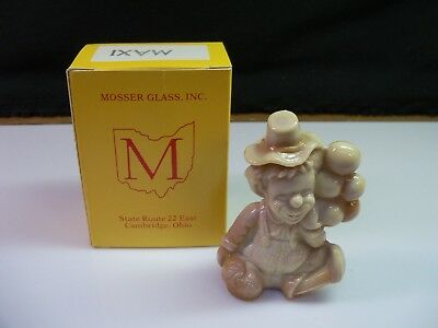 Maxi Mosser Clown Collectible Figurine With Box - Brown Chocolate Slag Glass