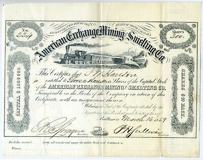 AMERICAN EXCHANGE MINING & SMELTING Co. Stock Certificate 1859 - North Carolina