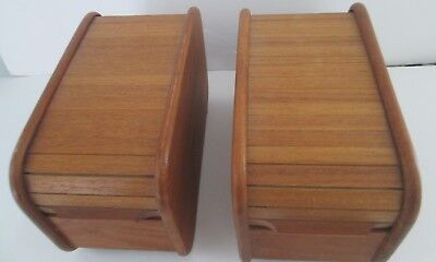 2 Vintage Teak-Tech  Roll Top Tambour Storage Boxes