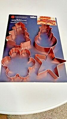 Christmas Copper Cookie Cutters 4 PC By MASTER CLASS Premium Collection NEW