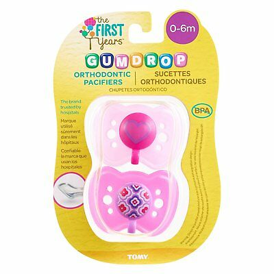 The First Years Gumdrop Orthodontic Pacifier / Dummy - 0-6 months - Twinpack