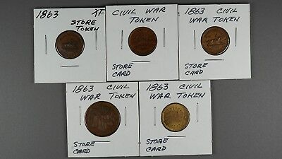 5 Civil War Tokens In Nice Circulated Condition
