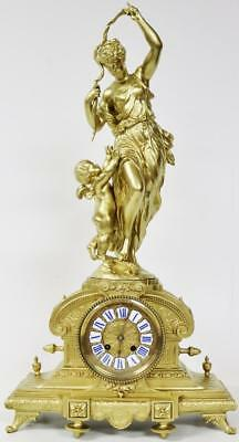 Large Antique 19thc French 8 Day Gilt Metal Mother & Child Figural Mantle Clock
