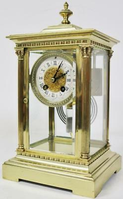 Small Antique 19thc French 8 Day Polished Bronze 4 Glass Regulator Mantel Clock